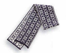 Borgund Scarf - Navy blue & White